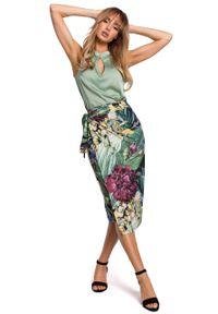 e-margeritka - Spódnica midi dzianinowa na zakładkę - 2xl. Stan: podwyższony. Materiał: dzianina