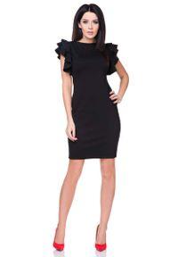 Czarna sukienka Tessita ołówkowa, z falbankami