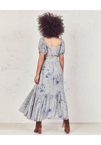 LOVE SHACK FANCY - Sukienka z jedwabiu Angie. Kolor: niebieski. Materiał: jedwab. Wzór: kwiaty, aplikacja, nadruk. Długość: maxi