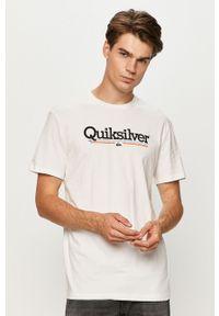 Biały t-shirt Quiksilver z nadrukiem, z okrągłym kołnierzem