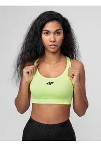 4f - Biustonosz treningowy. Kolor: żółty. Materiał: włókno. Sport: fitness