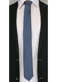 Granatowy Elegancki Krawat -Angelo di Monti- 6 cm, Męski, w Drobny Rzucik. Kolor: niebieski. Styl: elegancki