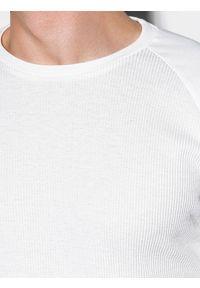 Ombre Clothing - Longsleeve męski bez nadruku L119 - biały - XXL. Kolor: biały. Materiał: bawełna, tkanina, poliester. Długość rękawa: długi rękaw #4