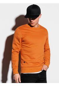 Ombre Clothing - Bluza męska bez kaptura B978 - ruda - XXL. Okazja: na co dzień. Typ kołnierza: bez kaptura. Kolor: żółty. Materiał: poliester, materiał, bawełna. Styl: klasyczny, casual