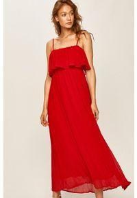 Różowa sukienka ANSWEAR na ramiączkach, maxi