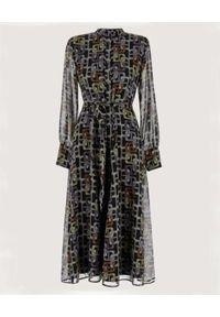 Marella - MARELLA - Sukienka z geometrycznym nadrukiem Zolder. Kolor: czarny. Wzór: geometria, nadruk. Typ sukienki: koszulowe, rozkloszowane. Długość: midi
