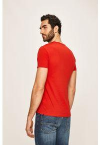 Czerwony t-shirt Trussardi Jeans z nadrukiem, casualowy, na co dzień