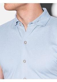 Ombre Clothing - Koszula męska z krótkim rękawem K541 - niebieska - XXL. Typ kołnierza: kołnierzyk klasyczny. Kolor: niebieski. Materiał: dzianina, bawełna. Długość rękawa: krótki rękaw. Długość: krótkie. Sezon: lato. Styl: klasyczny