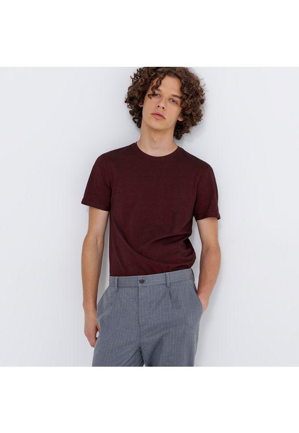 House - Melanżowa koszulka basic - Bordowy. Kolor: czerwony. Wzór: melanż