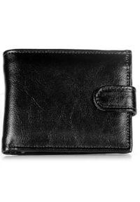 DAN-A - Skórzany portfel męski P153 czarny. Kolor: czarny. Materiał: skóra
