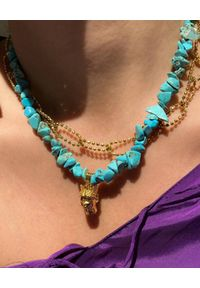 HERMINA ATHENS - Naszyjnik z turkusami Tyche. Materiał: pozłacane, srebrne. Kolor: niebieski. Kamień szlachetny: turkus