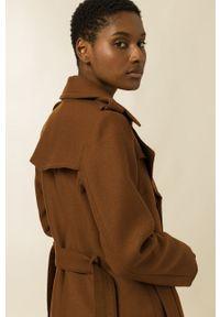 IVY & OAK - Płaszcz Charlotte. Okazja: na co dzień. Kolor: brązowy. Materiał: materiał, wełna. Styl: casual