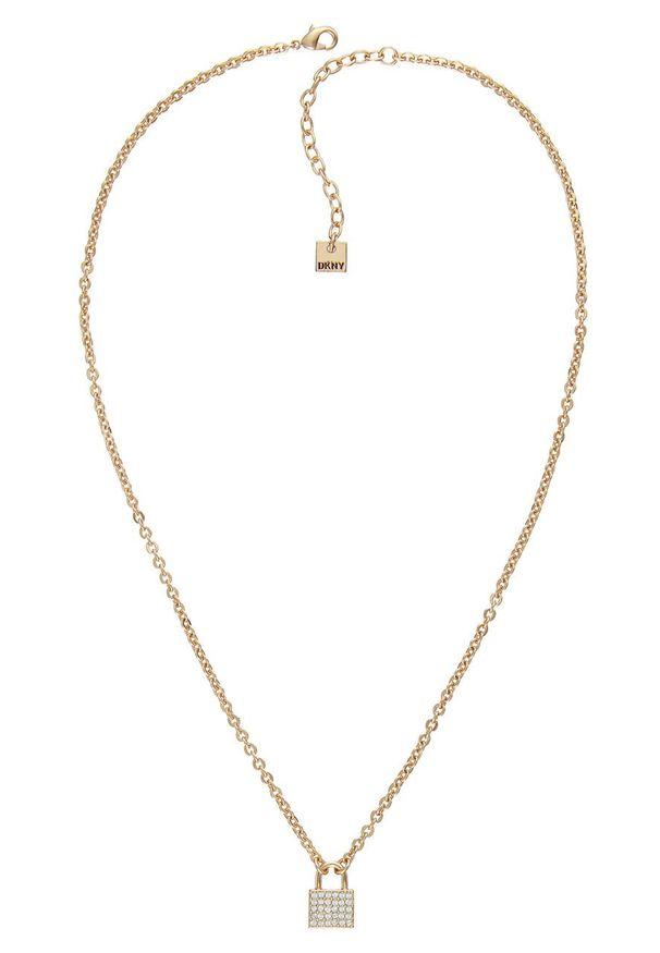 Złoty naszyjnik DKNY z kryształem, metalowy