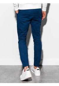 Ombre Clothing - Spodnie męskie joggery P908 - granatowe - XXL. Okazja: na co dzień. Kolor: niebieski. Materiał: bawełna, elastan. Wzór: aplikacja. Styl: casual, klasyczny