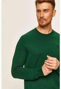 Zielony sweter Polo Ralph Lauren z okrągłym kołnierzem, długi, z aplikacjami