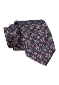 Chattier - Krawat Męski, Bordowo-Granatowy, Wzór Geometryczny, Klasyczny, Szeroki 7,5 cm, Elegancki -CHATTIER. Kolor: niebieski, czerwony, wielokolorowy. Materiał: tkanina. Wzór: geometria. Styl: klasyczny, elegancki
