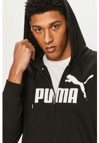 Czarna bluza rozpinana Puma z nadrukiem, na co dzień, z kapturem, casualowa