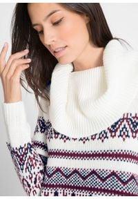 Sweter w norweski wzór, z szerokim golfem, fason o linii litery A bonprix biel wełny w norweski wzór. Typ kołnierza: golf. Kolor: biały. Materiał: materiał, wełna, akryl