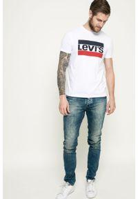 Biały t-shirt Levi's® na co dzień, z nadrukiem, casualowy