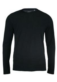 Czarny T-shirt (Koszulka) - Długi Rękaw, Longsleeve - 100% BAWEŁNA - Brave Soul, Męski. Okazja: na co dzień. Kolor: czarny. Materiał: bawełna. Długość rękawa: długi rękaw. Długość: długie. Styl: casual