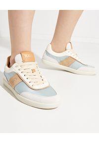 TOD'S - Niebieskie sneakersy Tabs. Nosek buta: okrągły. Kolor: brązowy. Materiał: zamsz