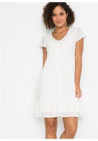 Sukienka z koronką bonprix biel wełny. Kolor: biały. Materiał: koronka, wełna. Wzór: koronka