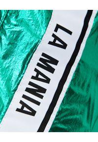 LA MANIA - Zielone spodnie z połyskiem Calle. Kolor: zielony. Materiał: tkanina. Wzór: aplikacja