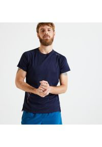 Koszulka do fitnessu DOMYOS w ażurowe wzory, krótka, z krótkim rękawem