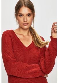 Czerwony sweter Vila na co dzień, raglanowy rękaw, casualowy