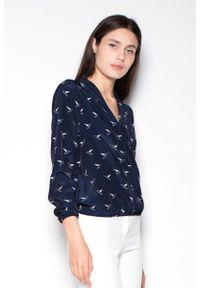 Venaton - Granatowa Koszula Wzorzysta z Kopertowym Dekoltem V. Kolor: niebieski. Materiał: poliester