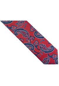 Adam Collection - Czerwony krawat męski w paisley D255. Kolor: czerwony. Materiał: tkanina, mikrofibra. Wzór: paisley