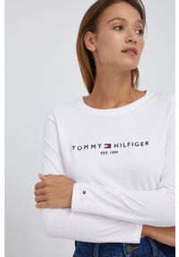 TOMMY HILFIGER - Tommy Hilfiger - Longsleeve bawełniany. Okazja: na co dzień. Kolor: biały. Materiał: bawełna. Długość rękawa: długi rękaw. Wzór: haft. Styl: casual