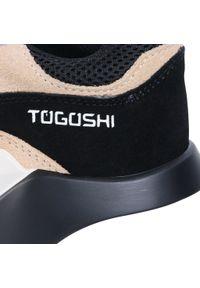 Beżowe półbuty casual Togoshi z cholewką, na płaskiej podeszwie