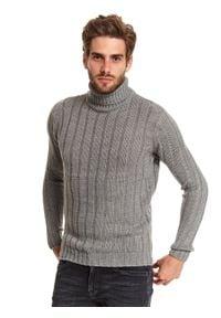 TOP SECRET - Sweter golf długi rękaw męski. Typ kołnierza: golf. Kolor: szary. Materiał: materiał. Długość rękawa: długi rękaw. Długość: długie. Sezon: zima. Styl: klasyczny