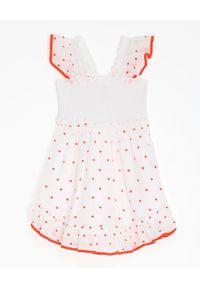 ZIMMERMANN KIDS - Biała sukienka w kropki Estelle. Kolor: biały. Materiał: bawełna. Długość rękawa: na ramiączkach. Wzór: kropki