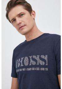 BOSS - Boss - T-shirt bawełniany. Okazja: na co dzień. Kolor: niebieski. Materiał: bawełna. Wzór: nadruk. Styl: casual