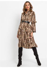 Brązowa sukienka bonprix koszulowa