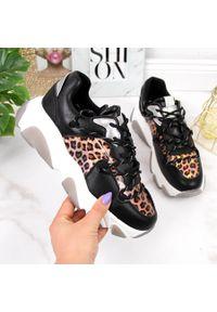 GOE - Skórzane buty sportowe damskie panterka Goe II2N4067. Materiał: skóra. Wzór: motyw zwierzęcy. Styl: sportowy