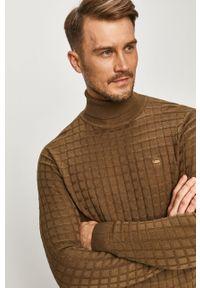Oliwkowy sweter G-Star RAW długi, z golfem