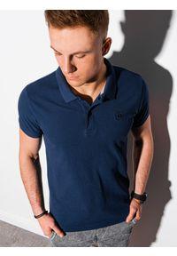 Ombre Clothing - Koszulka męska polo klasyczna bawełniana S1374 - granatowa - XXL. Typ kołnierza: polo. Kolor: niebieski. Materiał: bawełna. Wzór: haft. Styl: klasyczny
