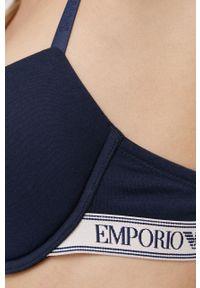 Emporio Armani Underwear - Biustonosz. Kolor: niebieski. Materiał: materiał. Rodzaj stanika: odpinane ramiączka