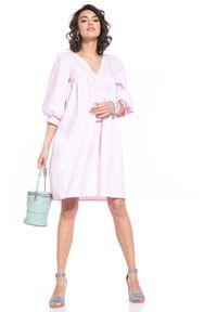 Tessita - Midi Sukienka z Bufiastym Rękawem - Różowa. Kolor: różowy. Materiał: bawełna. Długość: midi