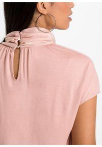 Shirt z różnych materiałów bonprix stary jasnoróżowy. Typ kołnierza: kołnierzyk stójkowy. Kolor: różowy. Materiał: materiał. Styl: retro