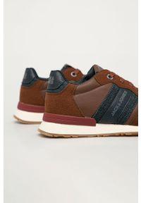 Brązowe sneakersy Jack & Jones z okrągłym noskiem, na sznurówki, z cholewką