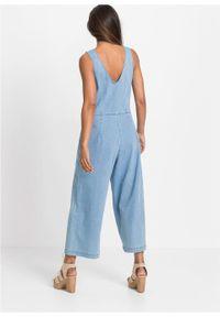 Kombinezon dżinsowy bonprix lodowy niebieski denim. Kolor: niebieski. Materiał: elastan, denim, bawełna, materiał