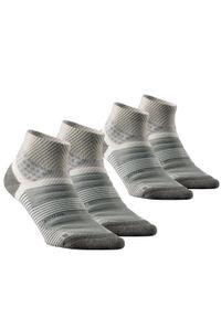 quechua - Skarpety turystyczne - MH900 Mid x2 pary. Kolor: wielokolorowy, szary, beżowy. Materiał: poliamid, wełna, poliester, elastan. Wzór: ze splotem