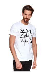 Biały t-shirt TOP SECRET z nadrukiem, krótki, z krótkim rękawem