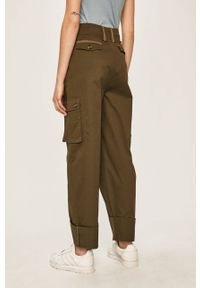 Zielone spodnie materiałowe Pepe Jeans z podwyższonym stanem