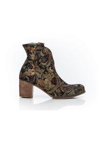 Złote botki Zapato eleganckie, w kolorowe wzory