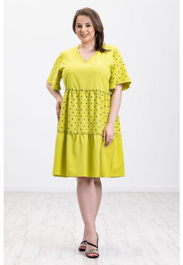 Moda Size Plus Iwanek - Lniana limonkowa sukienka Panama XXL OVERSIZE LATO. Okazja: do pracy, na imprezę. Materiał: len. Wzór: nadruk, kropki. Sezon: lato. Typ sukienki: oversize. Długość: midi